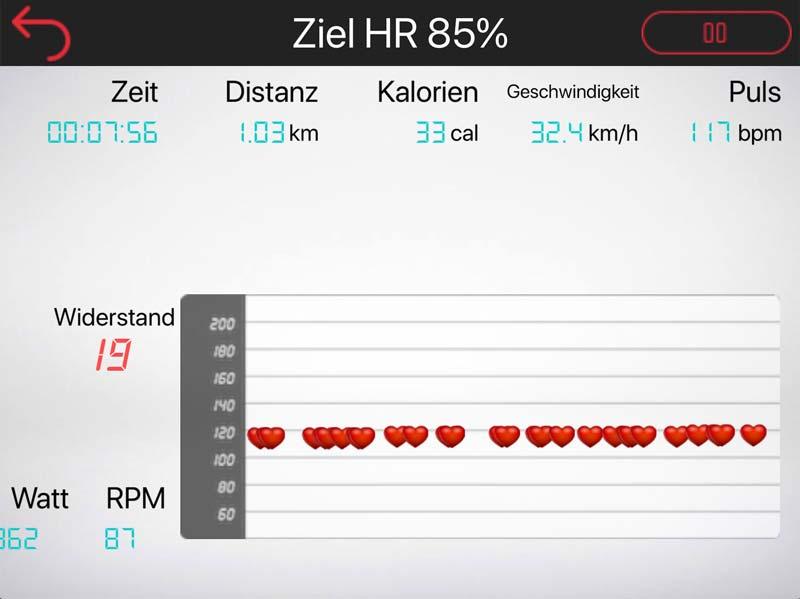 Herzfrequenzprogramm in der Sportplus cardiofit App
