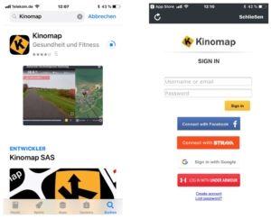 Kinomap im App Store und Anmeldungsbildschirm