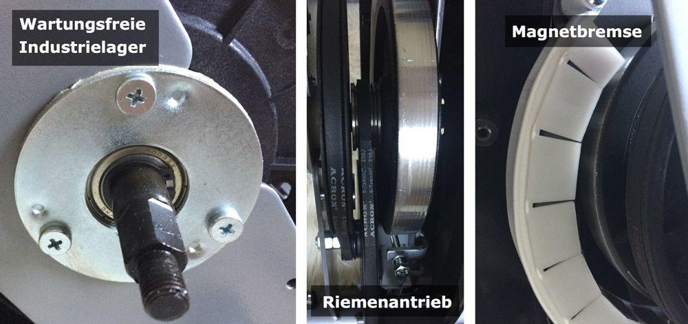 Industrielager, Riemenantrieb und Magnetbremse am Ultrasport F-Bike Heimtrainer