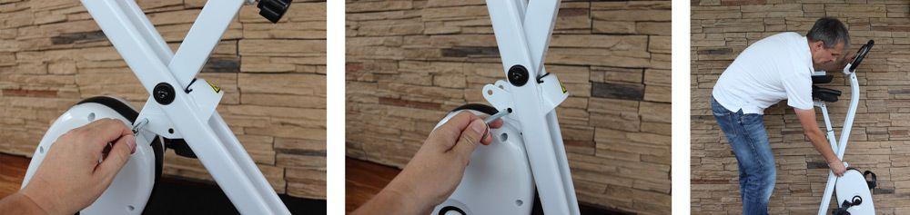 Mit einem Bolzen kann der Sportplus Heimtrainer zusammen geklappt werden.