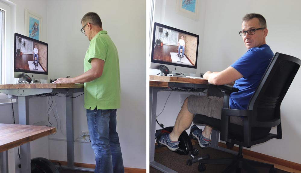 Flexispot Schreibtisch und Sportplus Under Desk Bike