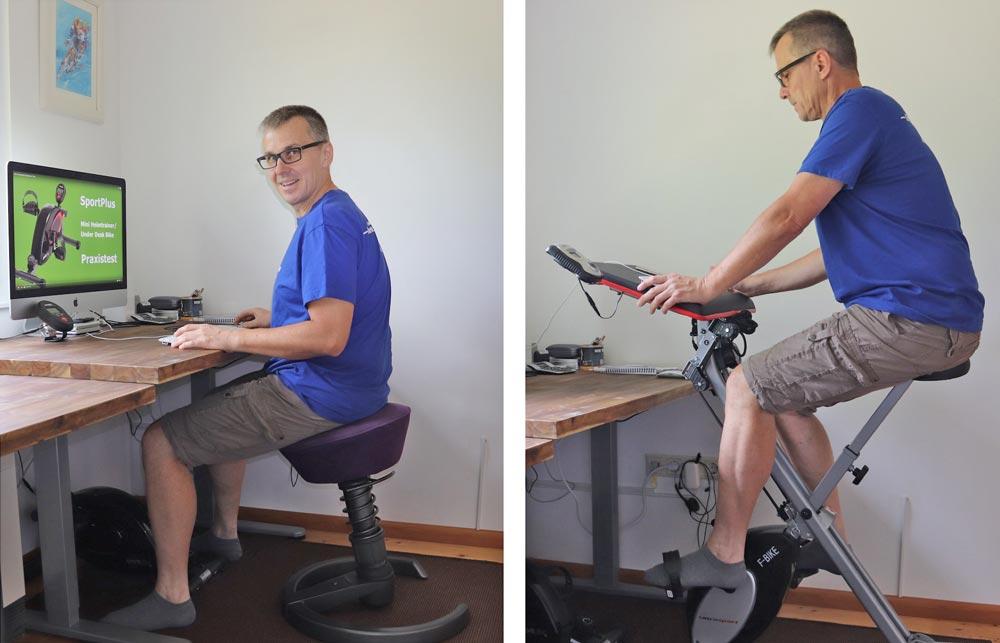 Rückenfreundlicher Schreibtischstuhl und klappbarer Heimtrainer mit Arbeitsplatte für Laptop