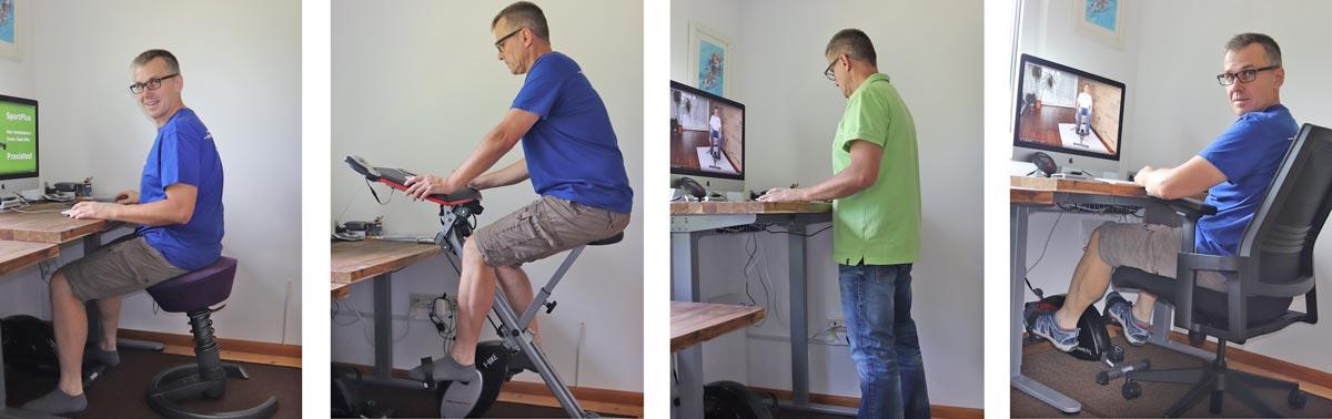 Aeris Swooper, F-Bike Work, elektrisch höhenverstellbarer Schreibtisch und Sportplus Under Desk Bike.