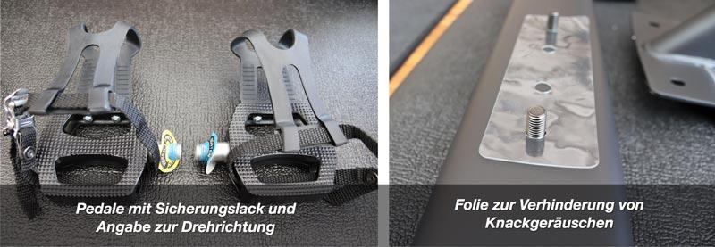 Alle Schraubverbindungen sind bereits vom Hersteller mit Sicherungslack versehen.