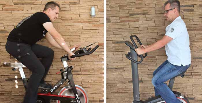 Tiefe und aufrechte Sitzposition auf Spinning Bike und Ergometer