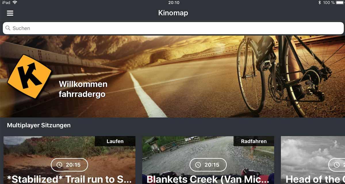 Kinomap Startbildschirm