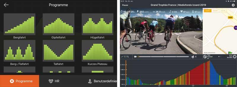 Linke Grafik zeigt die Trainingsprogramme in der Delightech App. Der rechte Screenshot zeigt die Kinomap App.