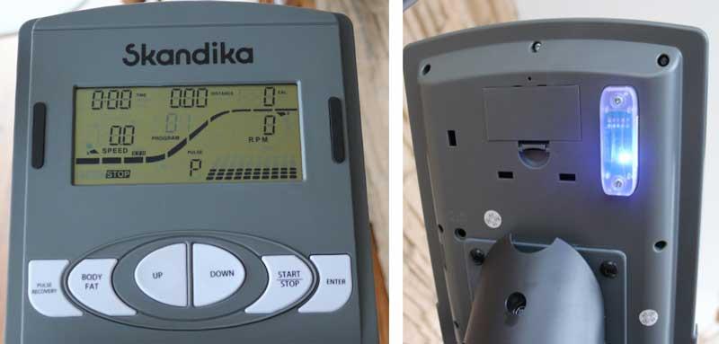 Das Bild zeigt den Trainingscomputer und die Bluetooth Schnittstelle auf der Rückseite.