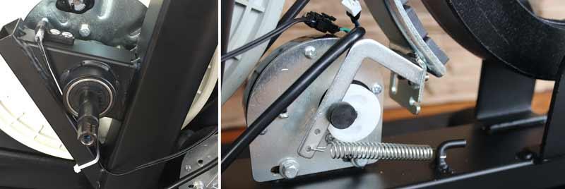 Das Bild zeigt das Tretlager und die Widerstandsteuerung beim Asviva H22 Ergometer