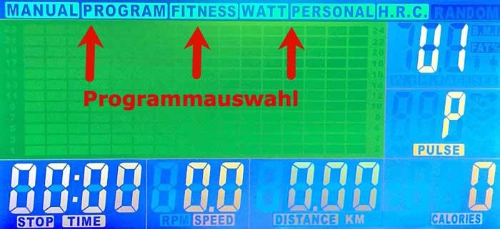 Das Bild zeigt das Display mit Programmauswahl des Asviva H22 Ergometers