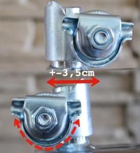 Das Bild zeigt eine Sattelkloben mit verschiedenen Montagemöglichkeiten