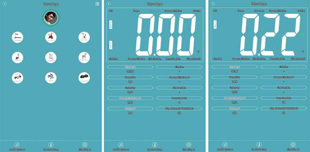 Das Bild zeigt die verschiedenen Ansichten der Fitness Data App