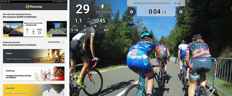 Das Bild zeigt die Kinomap App in Verbindung mit dem Schwinn IC8