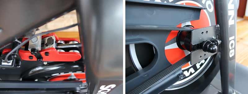 Das Bild zeigt die Magnetbremse und den Antriebsriemen am Schwinn IC8