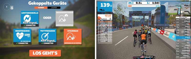 Das Bild zeigt das Schwinn IC8 mit Zwift App