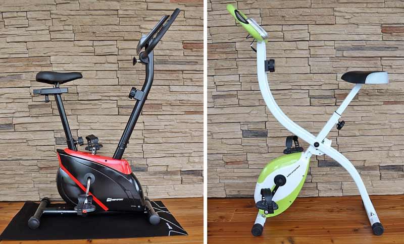 Das Bild zeigt ein Trimmrad und einen klappbaren Heimtrainer