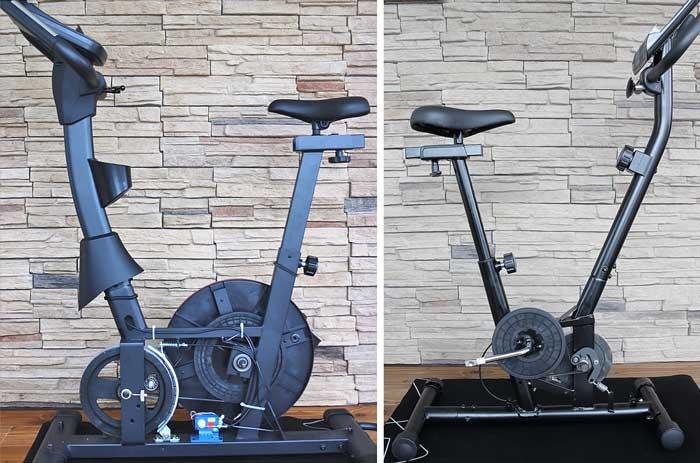 Das Bild links zeigt einen Heimtrainer und rechts ein Trimmrad ohne Verkleidung