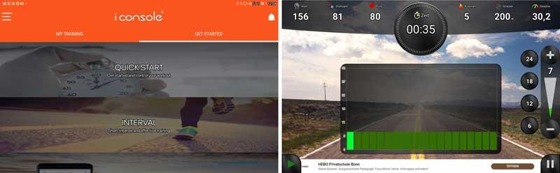 Das Bild zeigt die verfügbaren Apps für den Hop Sport