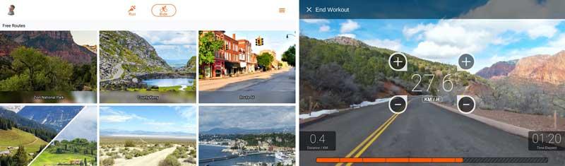 """Das Bild zeigt den Startbildschirm und ein Video der """"Explore the World by Bowflex"""" App"""