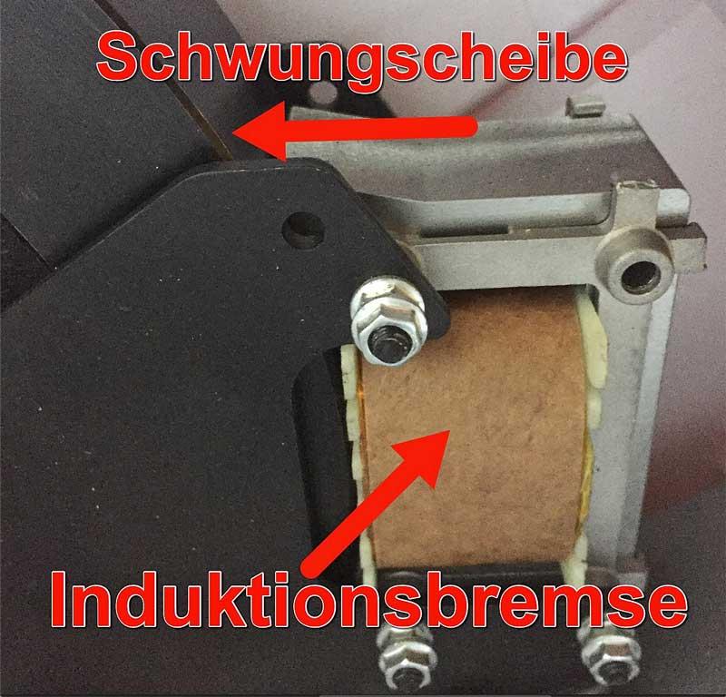 Das Bild zeigt eine Induktionsbremse in einem Fahrradergometer