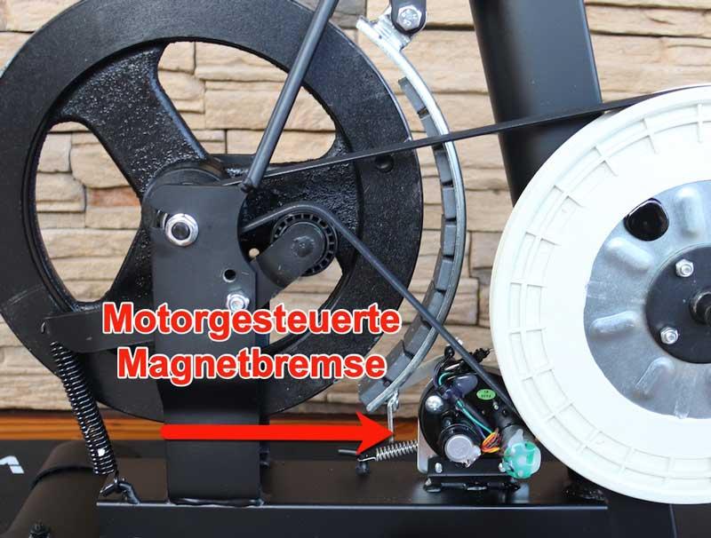 DAs Bild zeigt eine Magnetbremse die elektronisch von einem Motor gesteuert wird.