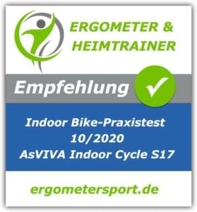 Das Bild zeigt das Empfehlungssiegel für das Asviva Indoor Cycle S17 Pro