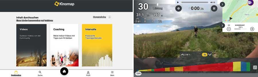 Das Bild zeigt die Kinomap Trainingsauswahl und Videoscreenshot mit verschiedenen Anzeigen
