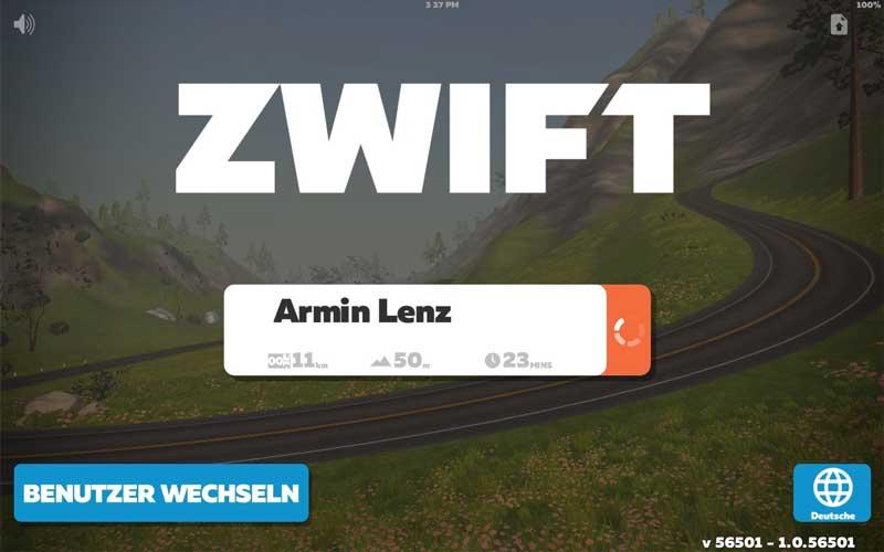Das Bild zeigt den Zwift App Startbildschirm
