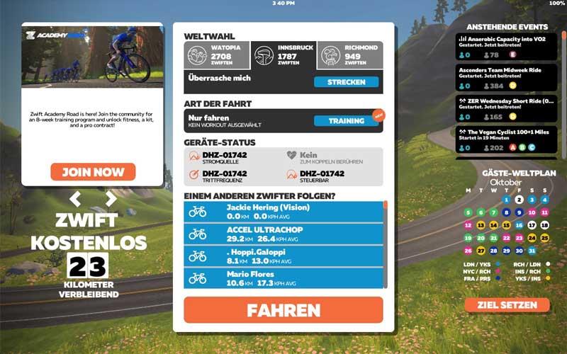 Das Bild zeigt die Streckenauswahl der Zwift App