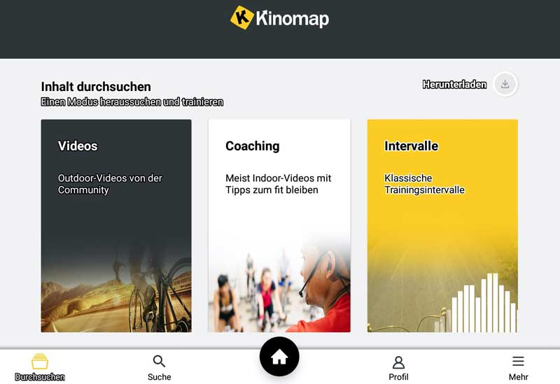 Der Miweba kann über FTMS mit der Kinomap verbunden werden.