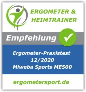 Das Bild zeigt das Empfehlungssiegel für den Miweba ME500