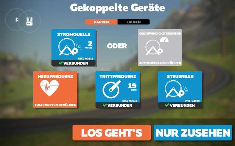 Das Bild zeigt das Koppeln mit der Zwift App