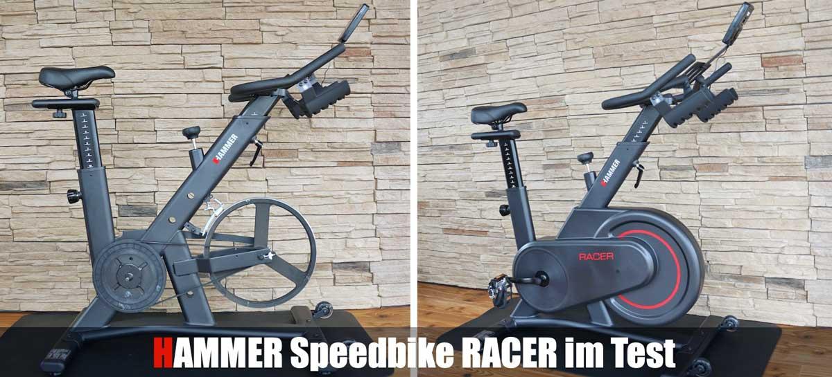 Das Bild zeigt das Speedbike Hammer Racer im Test mit und ohne Gehäuse