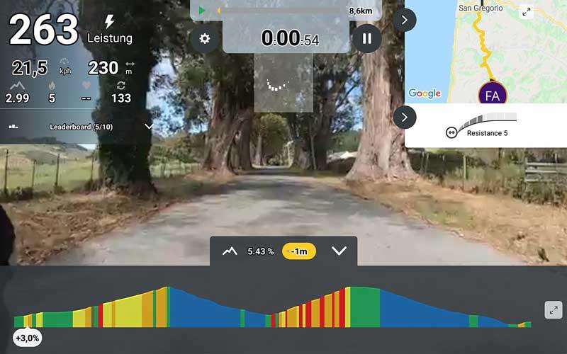 Das Bild zeigt die Kinomap App mit verschiedenen Werten.