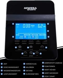 Das Bild zeigt die Anzeigen und Bedientasten am Miweba Trainingscomputer