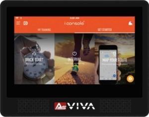 Das Bild zeigt den neuen Trainingscomputer des Asviva S17 Indoor Cycles
