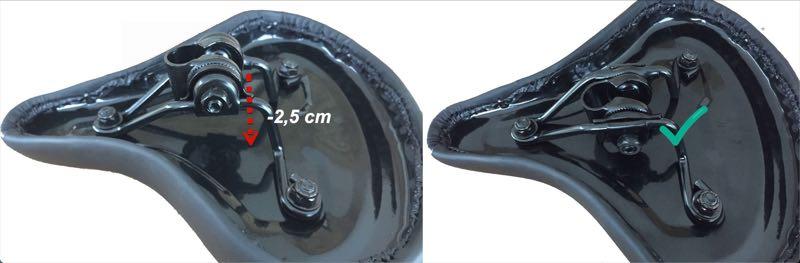 Das Bild zeigt wie man durch das versetzen des Sattelkobens 2,5 cm Höhe einsparen kann.