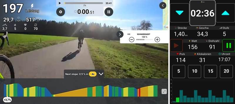 Das Bild zeigt links die Videoansicht in der Kinomap App und rechts die Datenansicht bei MyHomeFit.