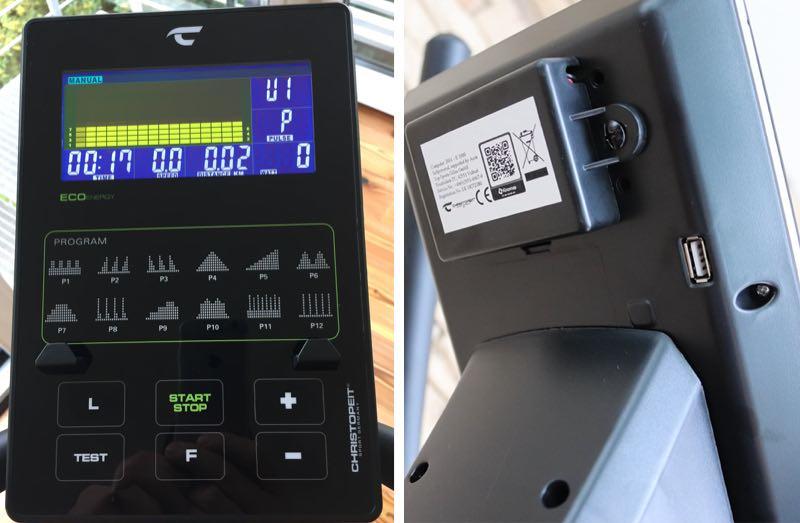 Das Bild zeigt Links den Trainingscomputer mit den Bedientasten und dem Display. Rechts die Unterseite mit Akkubox und USB Ladeanschluß.